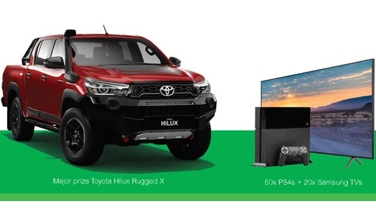 Clipsal Win Play Drive Away Promotional image showcasing a prizes like Toyota Hilux and Play Station (PS4s) and Samsung TVs.