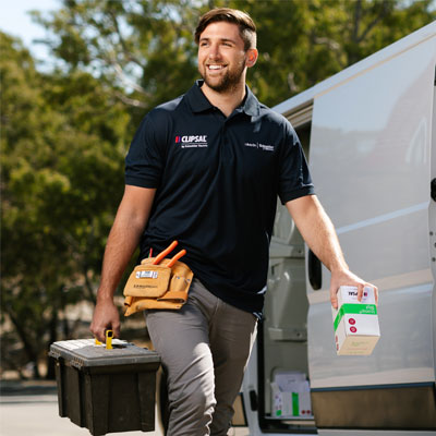 A happy electrician who uses Clipsal branded products
