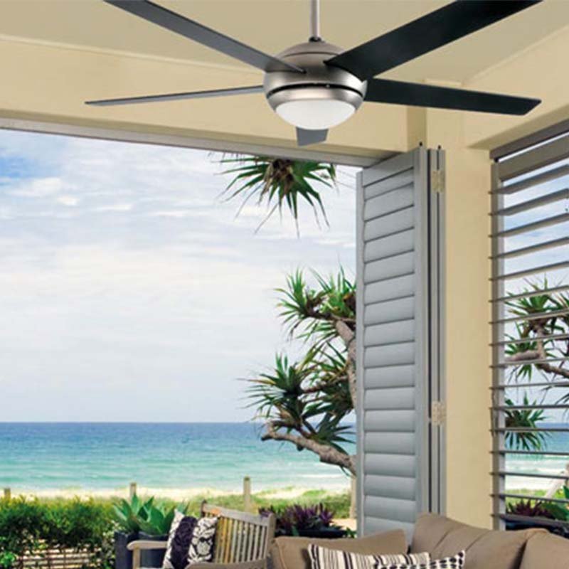 Clipsal Airflow ceiling fan in an open air room.