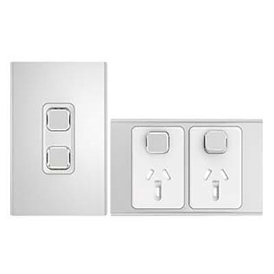 Iconic Styl Silver light switch and power point