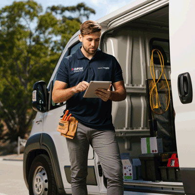 Clipsal electrician and van