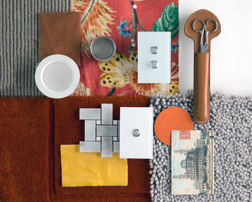 A colourful varied mood board with Clipsal products