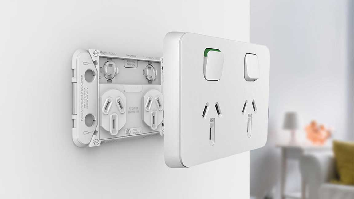 Iconic Switched Socket Exploded View on Wall
