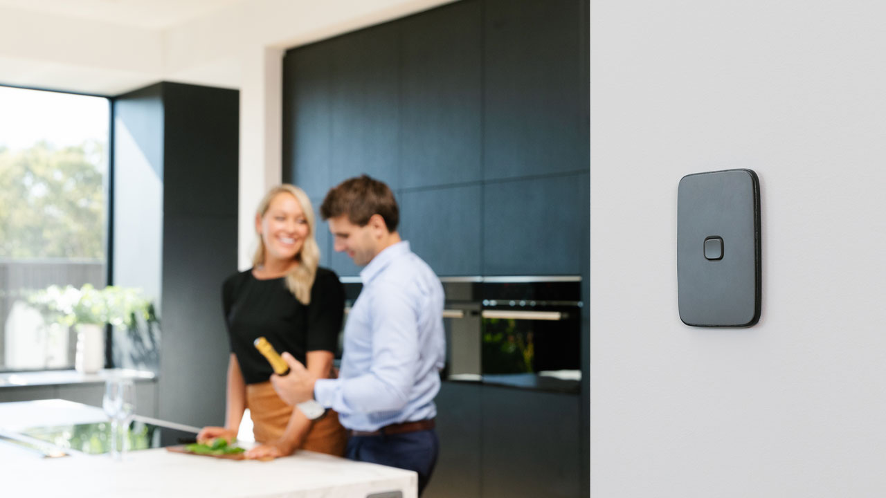 Ash Grey Iconic Essence switch installed in kitchen