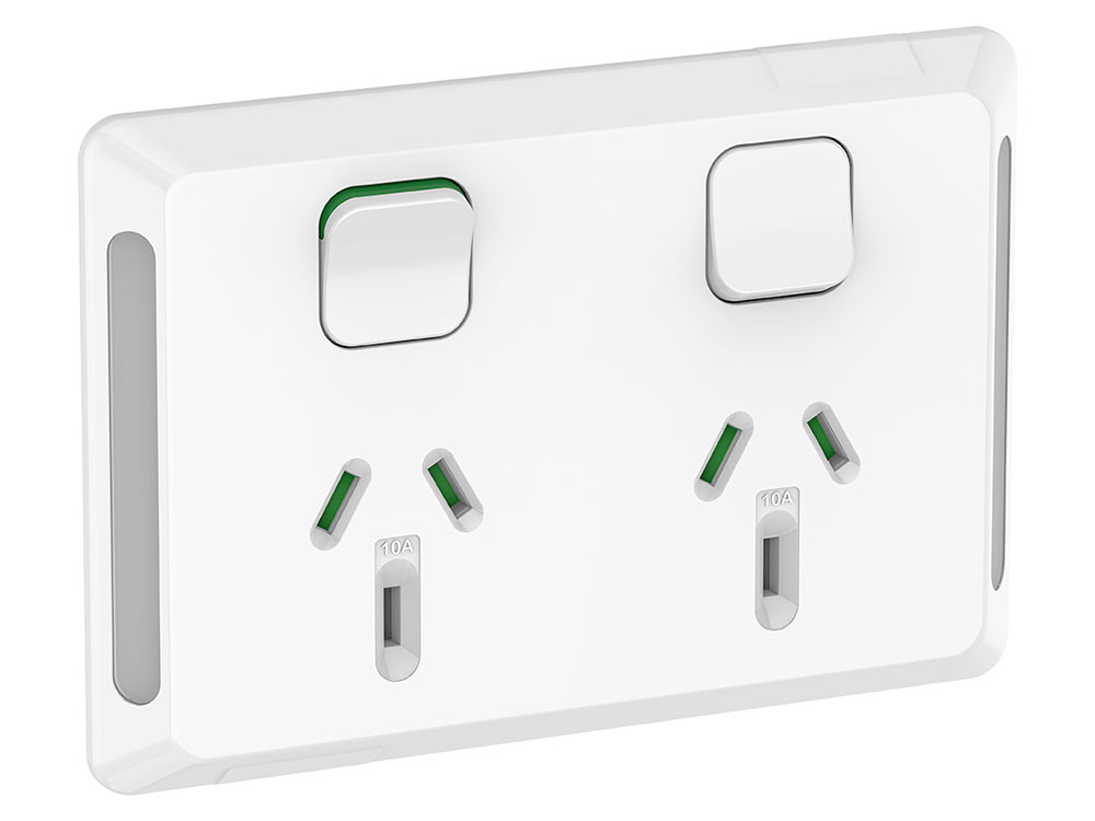 White Clipsal Pro Series Dual Socket