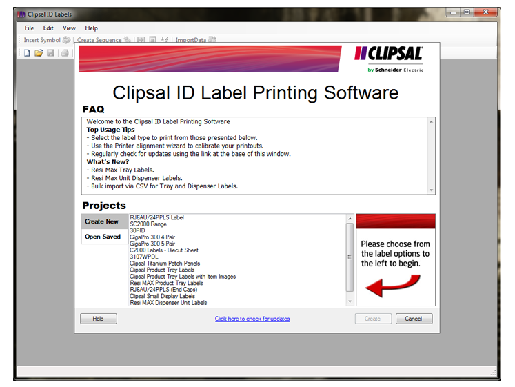 Clipsal Label ID Printing Software Screenshot